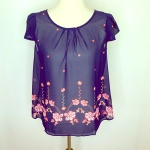 DNA Couture Navy Floral Sheer Tulip Sleeve Top